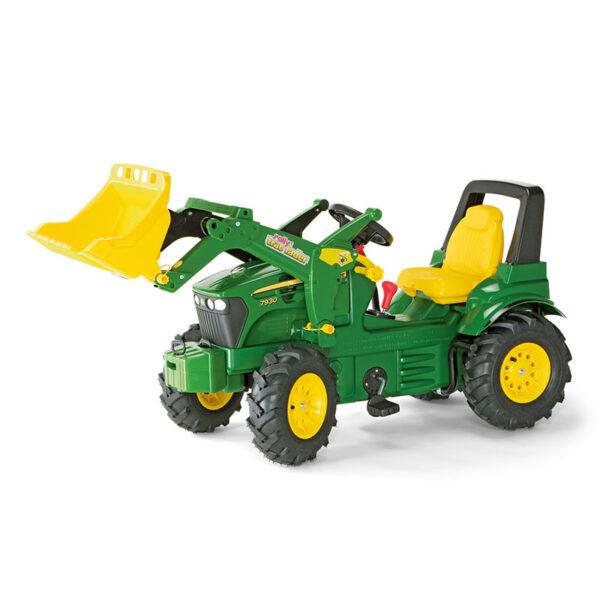 Rolly Toys Premium John Deere s prednjim nakladačem, prestavo in napihljivimi pnevmatikami 71012